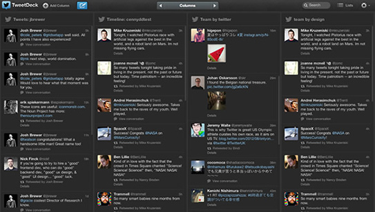 Captura de pantalla de Tweetdeck