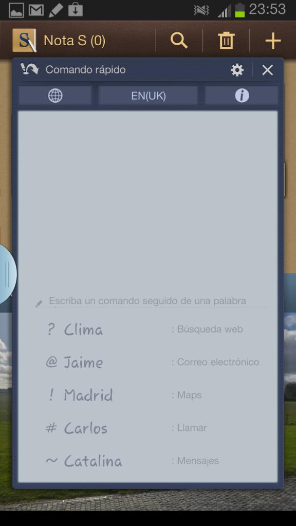 Comandos de texto del Samsung Galaxy Note 2