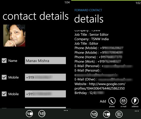 Contactos Windows Phone