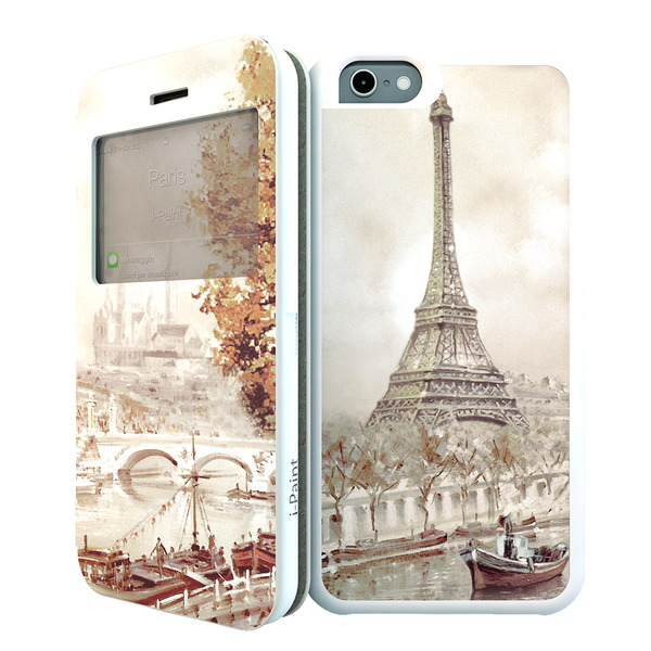 Funda doble de microfibra i-Paint Imán París para iPhone 6