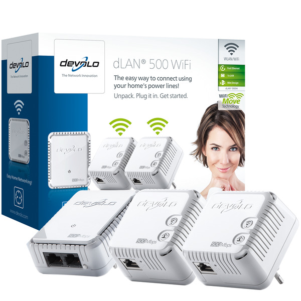 Kit de 3 adaptadores PLC Devolo dLAN 500 WiFi Network Kit