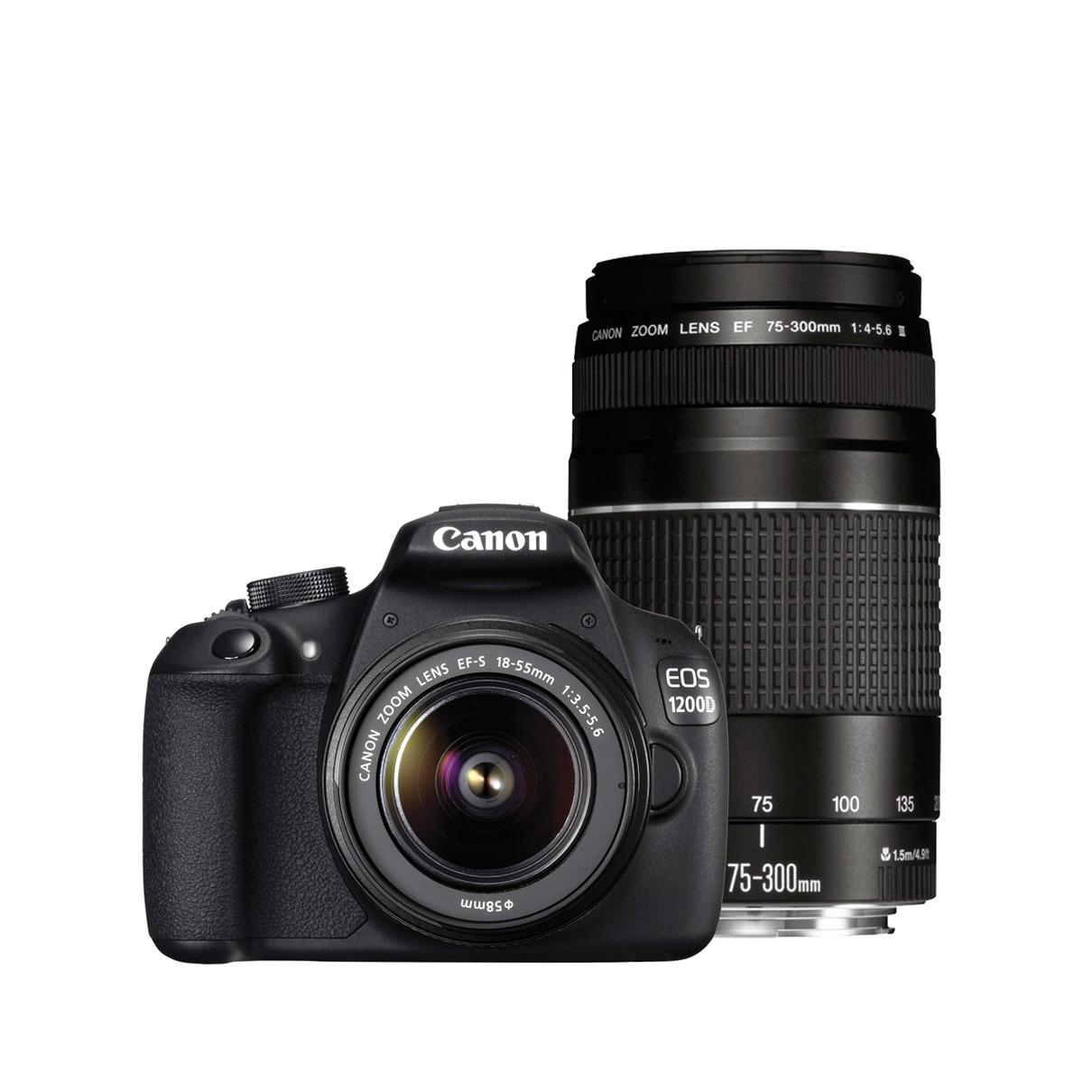 Cámara réflex digital Canon EOS 1200D con Objetivos 18-55mm DC y 75-300 DC