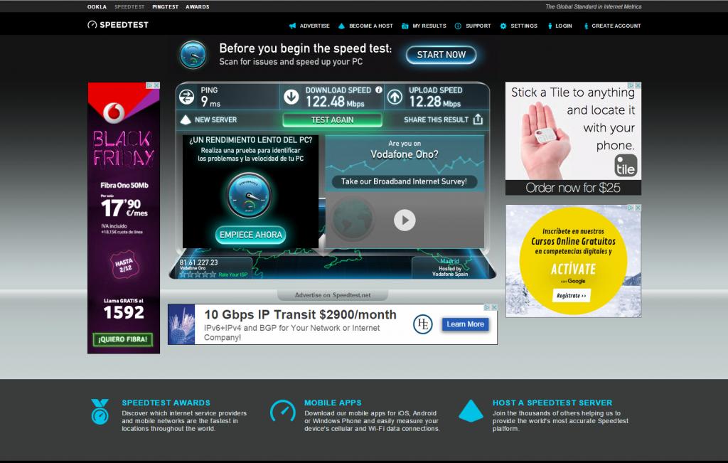 En la web speedtest.net se puede medir la velocidad de nuestra conexión. Además, tiene app para dispositivos móviles.