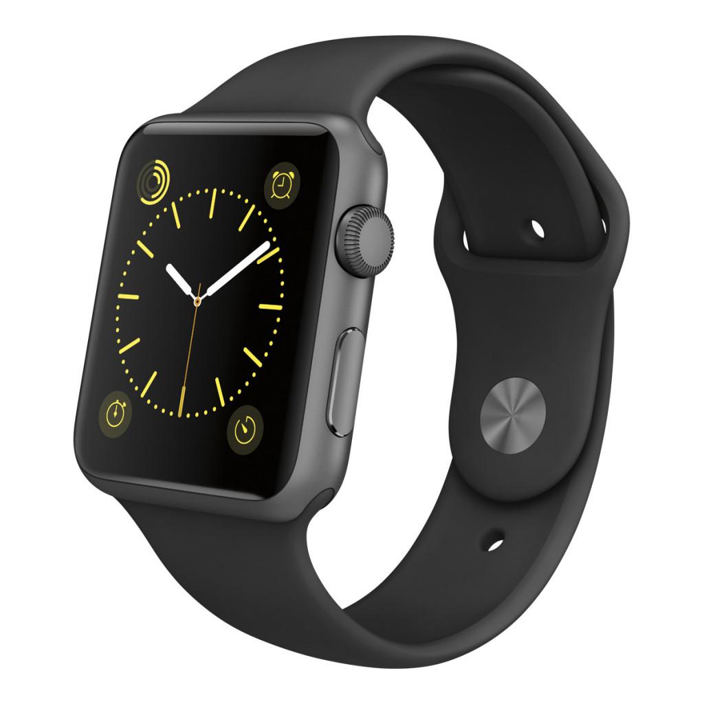 Apple Watch Sport caja de 42 mm de aluminio en gris espacial y correa deportiva negra