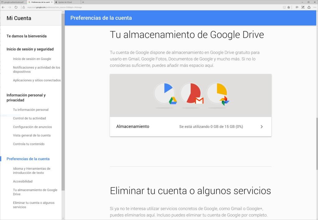 google almacenamiento