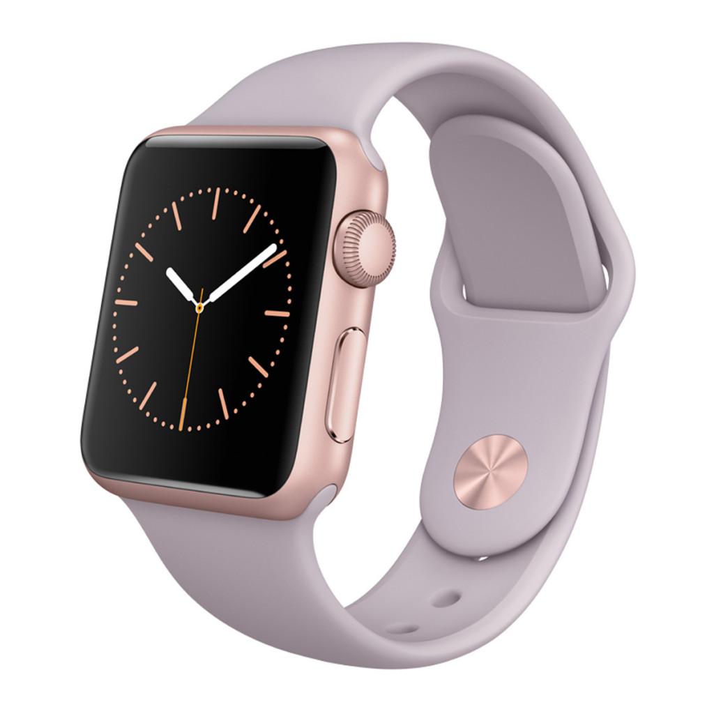 Apple Watch Sport caja de 38 mm de aluminio en oro rosa y correa deportiva lavanda