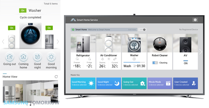 Samsung-Smart-Homes-Integrated-Application-for-Smartphone-left-and-Smart-TV