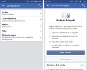 facebook contacto de legado