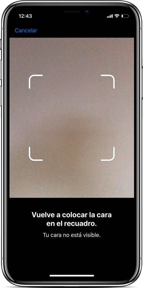 cámara configuración Face ID del iPhone X