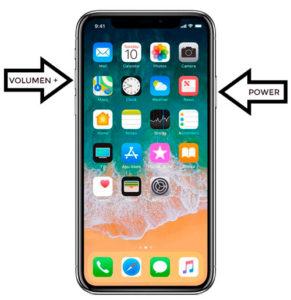 captura de pantalla en iPhone X