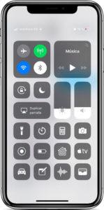 Centro de control iPhone X