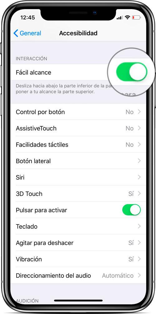 Ajuste facil alcance iPhone X