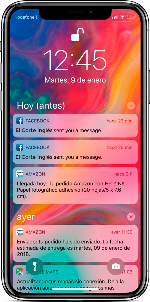 Notificaciones en iPhoneX
