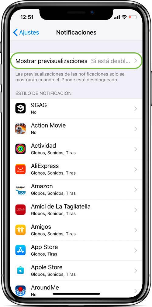Ocultar noticficaciones iPhone X
