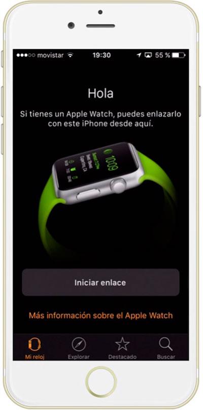 Botón para del iPhone para enlazar el Apple Watch