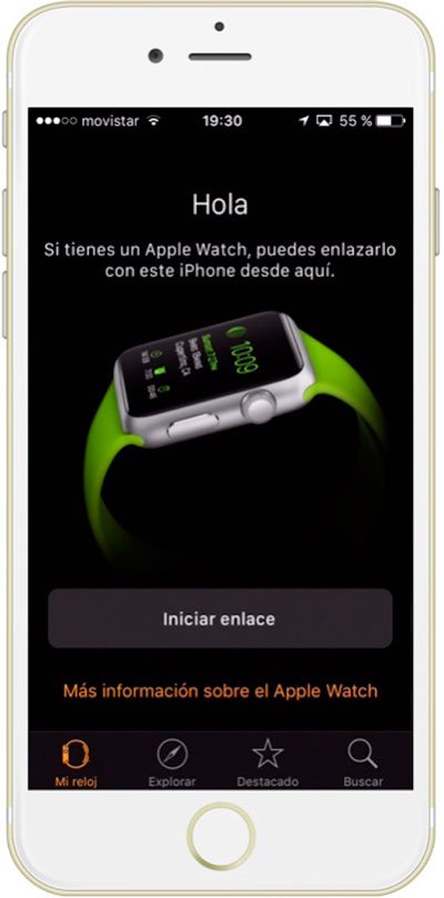 Botón para del iPhone para enlazar el Apple Watch