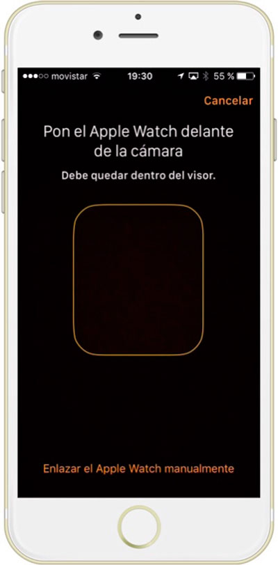 Recuadro de escaner de imagen para sincronizar el Apple Watch