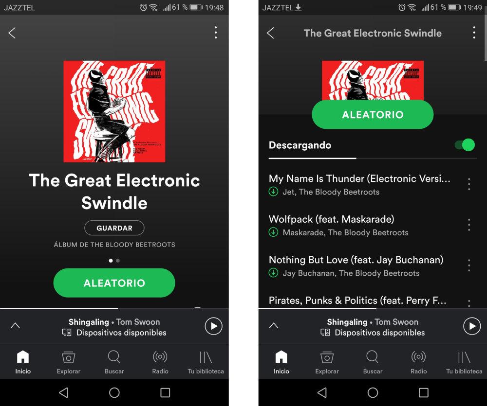 cómo escuchar spotify sin conexión