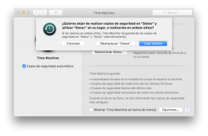 Usar más de un disco para copia de seguridad en Time Machine