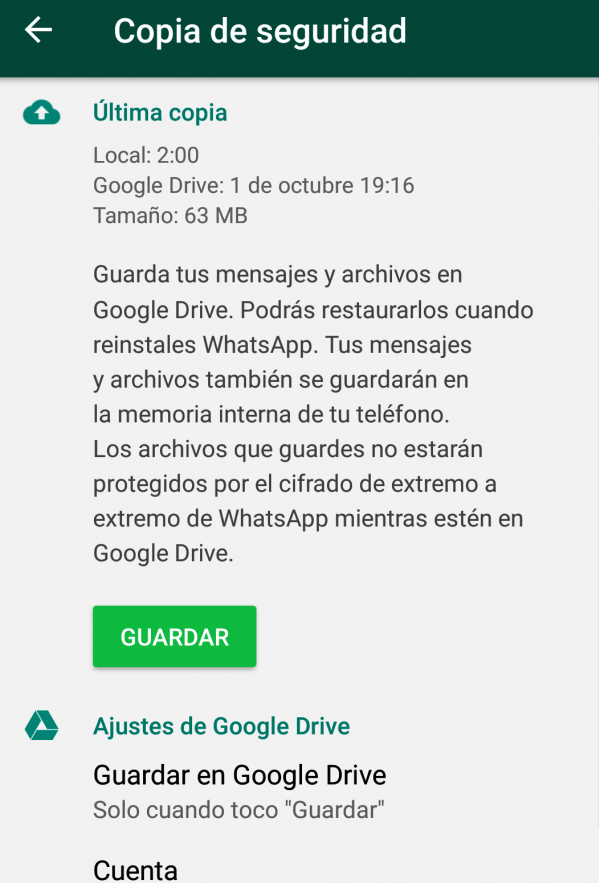 guardar WhatsApp