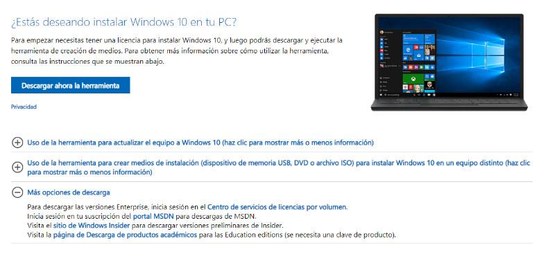 descargar herramienta de actualizacion de windows